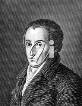 August von Kotzebue (1761-1819) on engraving from 1859. German dramatist and author. Engraved by unknown artist and published in Meyers Konversations-Lexikon, Germany,1859.