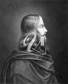 Friedrich von Sallet (1812-1843) on engraving from 1859. German writer, Engraved by unknown artist and published in Meyers Konversations-Lexikon, Germany,1859.
