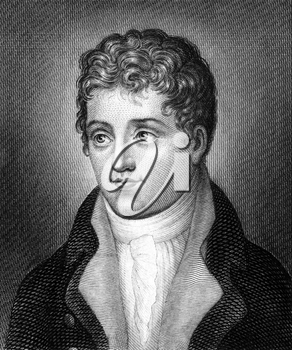 Heinrich Joseph von Collin (1771-1811) on engraving from 1859. Austrian dramatist. Engraved by unknown artist and published in Meyers Konversations-Lexikon, Germany,1859.