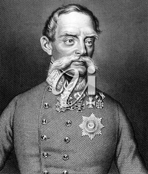 Julius Jacob von Haynau (1786-1853) on engraving from 1859. Austrian general. Engraved by Nordheim and published in Meyers Konversations-Lexikon, Germany,1859.