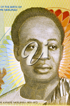 Kwame Nkrumah (1909-1972) on 2 Cedis 2010 Banknote from Ghana. Leader of Ghana and its predecessor state, the Gold Coast, during 1951-1966.