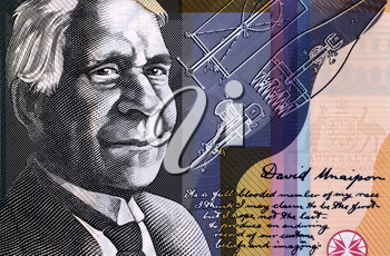 David Unaipon (1872-1967) on 50 Dollars 2009 from Australia.Famous Indigenous Australian whose contribution to Australian society helped to break many Indigenous Australian stereotypes.