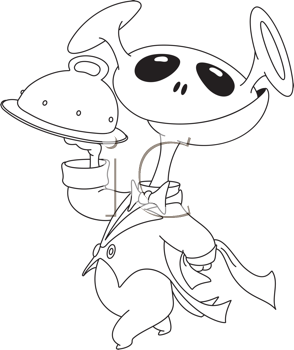 Royalty Free Clipart Image of an Alien With a Domed Tray