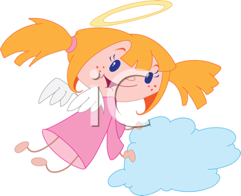 Royalty Free Clipart Image of a Girl Angel