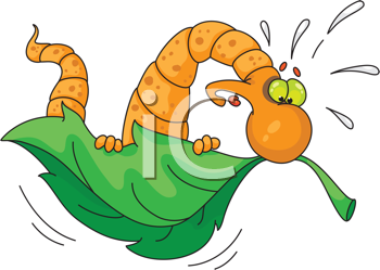 Royalty Free Clipart Image of a Worm on a Flying Leaf