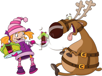 Royalty Free Clipart Image of a Girl Feeding Cake to a Reindeer