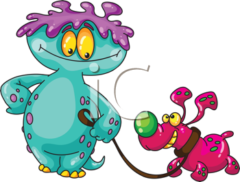 Royalty Free Clipart Image of a Monster With a Dog