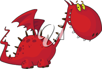 illustration of a cartoon red dragon