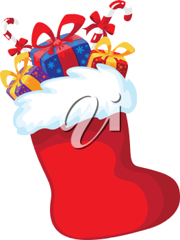 illustration of a Christmas red stocking with gifts