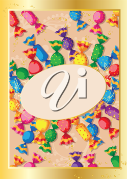 illustration of a cute candy card
