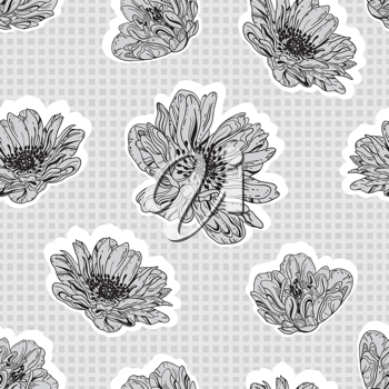 illustration of a seamless gray flowers