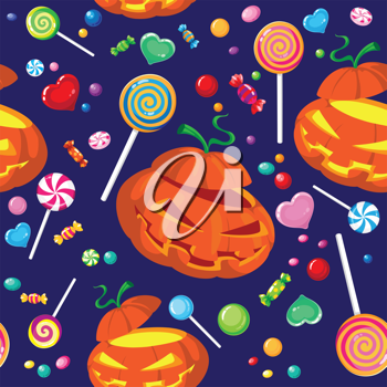 illustration of a seamless halloween candy