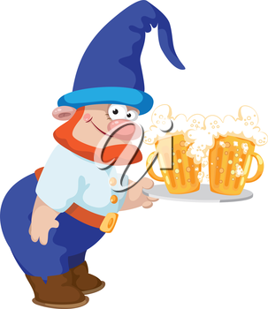 illustration of a dwarf and a tray with a beer