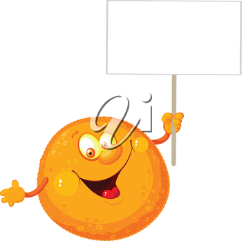 illustration of a orange with a blank sign