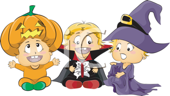 Royalty Free Clipart Image of Three Children in Halloween Costumes
