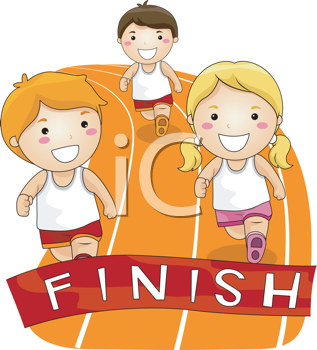 Royalty Free Clipart Image of Children Running a Race