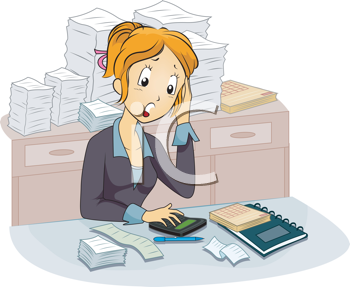 Royalty Free Clipart Image of a Female Accounting
