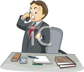 Royalty Free Clipart Image of an Upset Man on a Telephone
