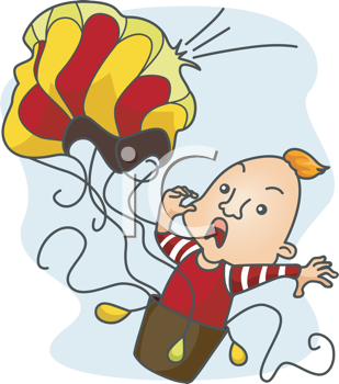 Royalty Free Clipart Image of a Man in a Falling Hot Air Balloon
