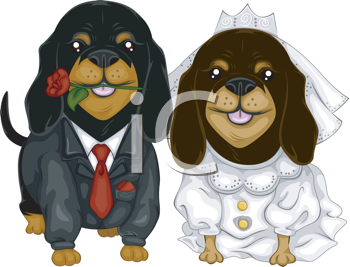 Royalty Free Clipart Image of Two Dogs Marrying
