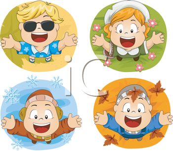 Royalty Free Clipart Image of a Collection of Children Representing the Four Seasons