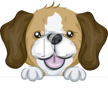 Royalty Free Clipart Image of a Beagle With Its Paws on a Board