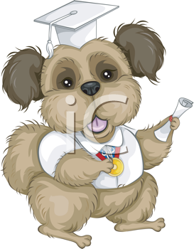 Royalty Free Clipart Image of a Dog Training Graduate