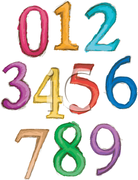 Royalty Free Clipart Image of Number to Nine