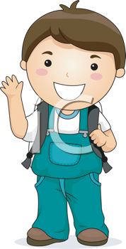 Royalty Free Clipart Image of a Little Boy With a Backpack