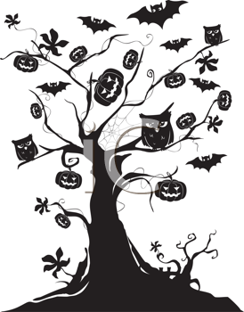 Royalty Free Clipart Image of a Halloween Tree with Bats, Pumpkins, and Owls