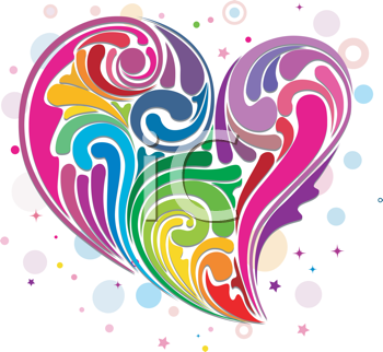 Royalty Free Clipart Image of a Rainbow Swirl Heart