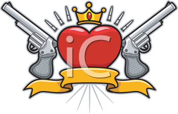 Royalty Free Clipart Image of a Heart With a Crown, Guns, Bullets and a Banner