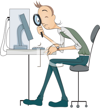 Royalty Free Clipart Image of a Man Looking at a Computer Monitor With a Magnifying Glass