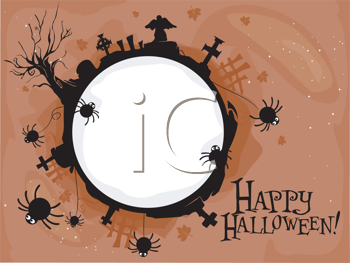 Royalty Free Clipart Image of a Happy Halloween Frame Greeting