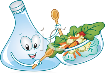 Royalty Free Clipart Image of a Salad Carafe Stirring the Salad