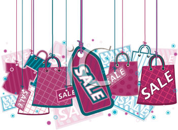 Royalty Free Clipart Image of Sale Items on Strings