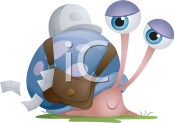 Royalty Free Clipart Image of a Snail Delivering Mail