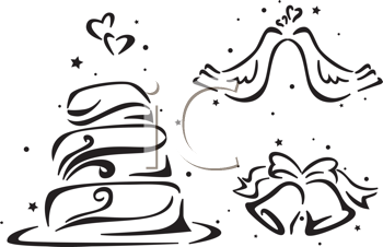 Royalty Free Clipart Image of a Wedding Cake, Bells and Doves