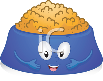Royalty Free Clipart Image of a Bowl of Dog Food