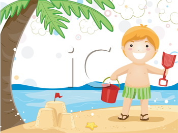 Royalty Free Clipart Image of a Child Playing in the Sand at the Beach