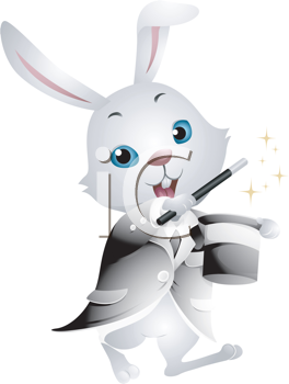 Royalty Free Clipart Image of a Magician Rabbit