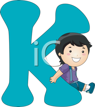 Royalty Free Clipart Image of a Boy Leaning on a Letter K