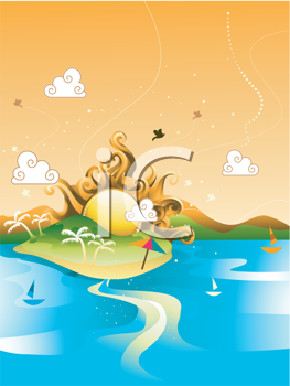 Royalty Free Clipart Image of an Abstract Beach Design