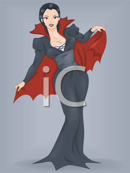 Royalty Free Clipart Image of a Woman in a Vampire Costume
