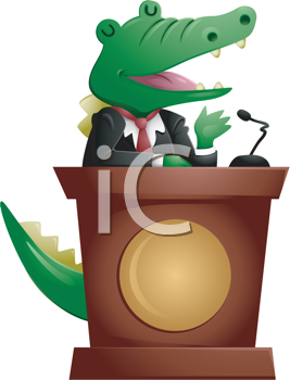Royalty Free Clipart Image of a Crocodile at a Podium