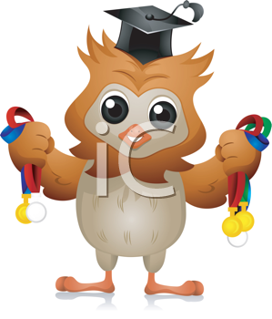 Royalty Free Clipart Image of an Owl Holding Medals