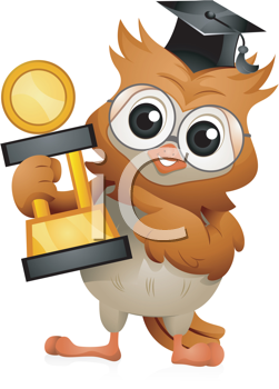Royalty Free Clipart Image of an Owl in a Cap With a Trophy