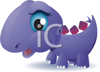 Royalty Free Clipart Image of a Stegosaurus With Big Eyes