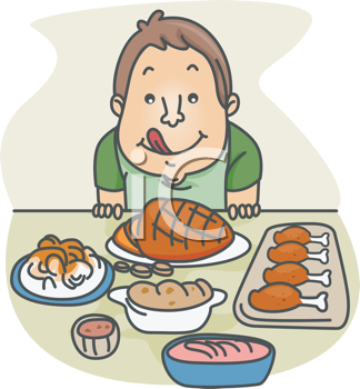 Royalty Free Clipart Image of a Man With a Lot of Food in Front of Him
