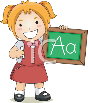Royalty Free Clipart Image of a Girl With a Chalkboard and the Letter A